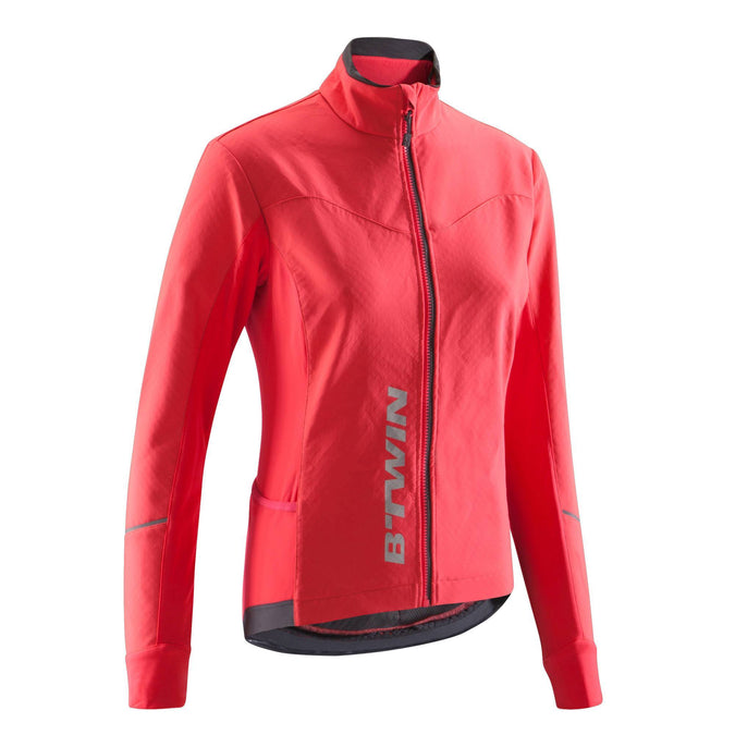 Women's Cycling Jacket 500,neon coral pink, photo 1 of 18