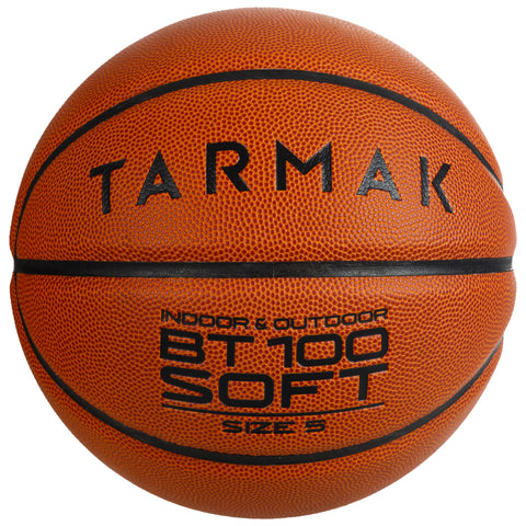 Kids' Beginner Basketball Size 5 Under Age 10 BT100,blood orange