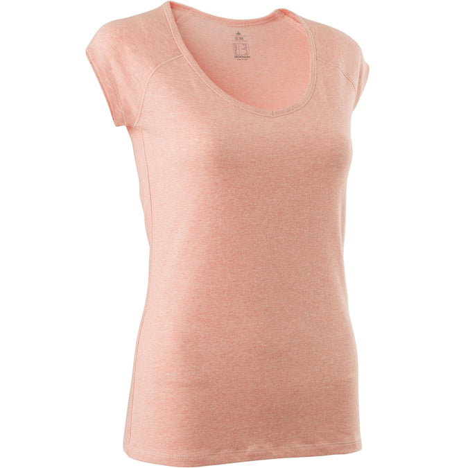 Women's Pilates and Gentle Gym Slim-Fit T-Shirt 500,pink, photo 1 of 5