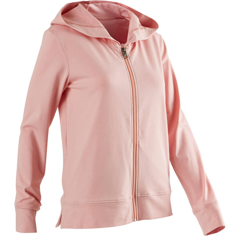 Women's Pilates and Gentle Gym Hooded Jacket 100,