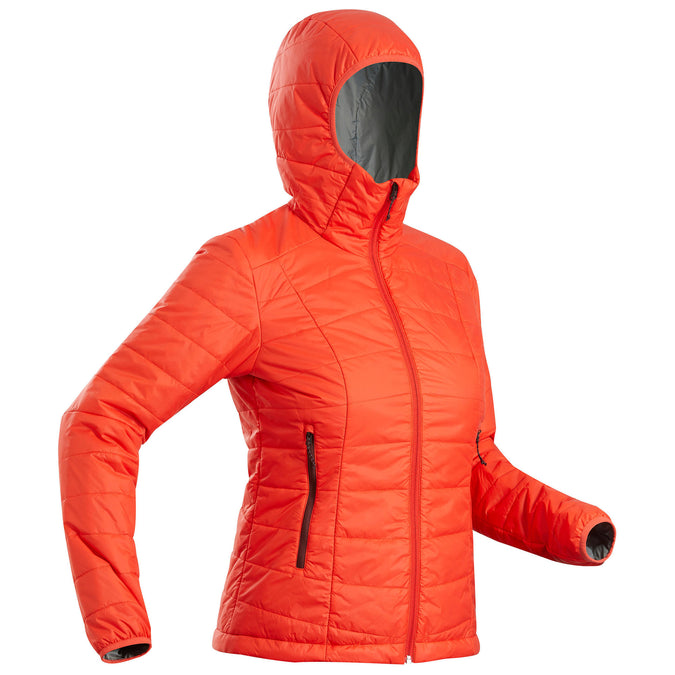 Forclaz Trek 100, Women's Light Backpacking Padded Down Jacket with Hoodie,coral red, photo 1 of 8