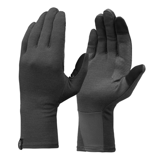 Forclaz Trek 500, Merino Wool Hiking Liner Gloves, Adult,carbon gray, photo 1 of 5