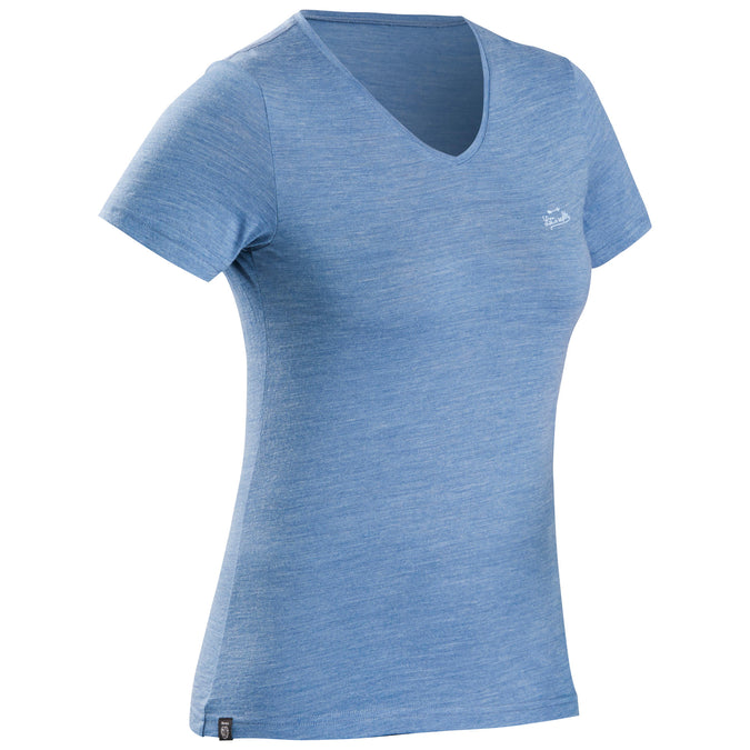 Women's Travel 100 Merino Hiking T-Shirt,blue gray, photo 1 of 7