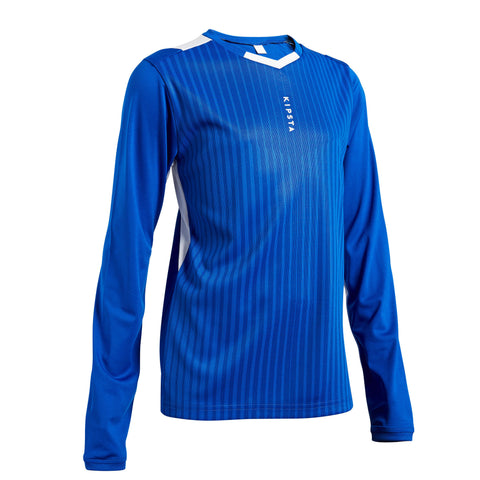 Kids' Soccer Long-Sleeved Shirt F500,bright indigo