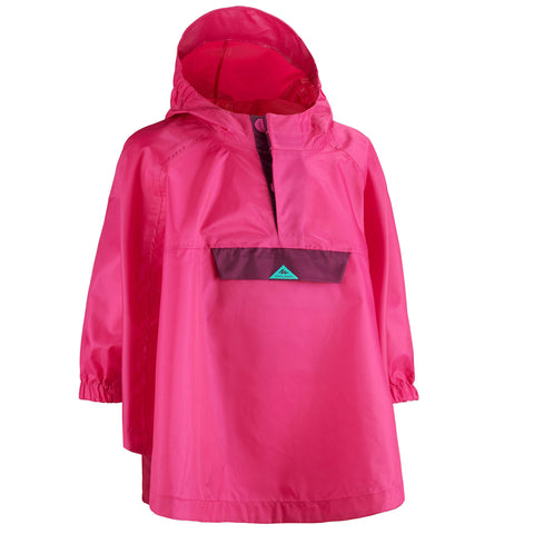 Child's Hiking Waterproof Poncho MH100,bright pink