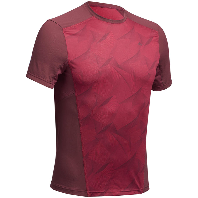 Men's Mountain Hiking Short-Sleeved T-Shirt MH500,bordeaux, photo 1 of 5