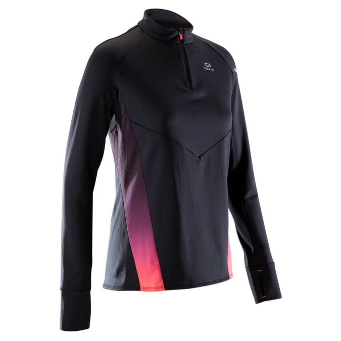 Women's Running Warm Light Long-Sleeved T-Shirt Kiprun,black, photo 1 of 11