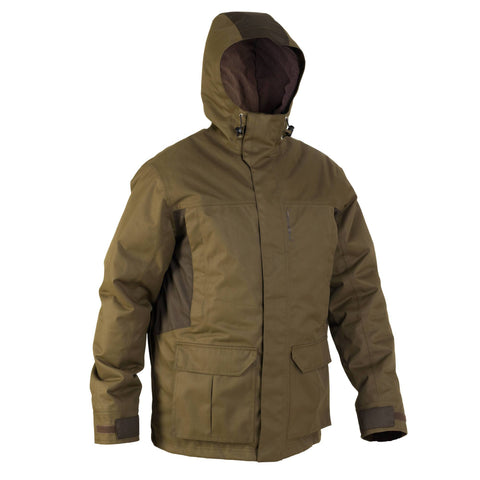 Men's Hunting Warm Waterproof Parka 500,dark khaki