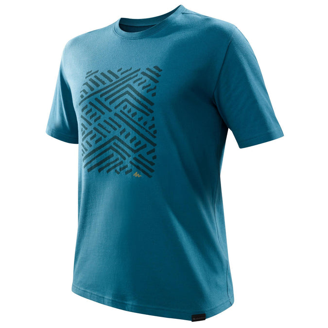 Men's Nature Hiking T-Shirt NH500,peacock blue, photo 1 of 6