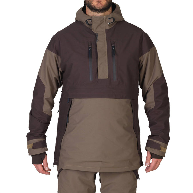 Men's Hunting Waterproof Shell Jacket Renfort 500,coffee, photo 1 of 5
