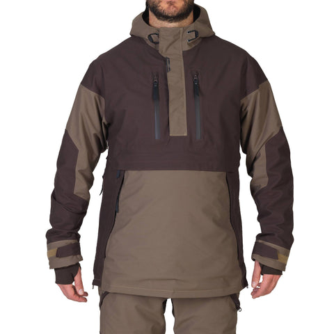 Men's Hunting Waterproof Shell Jacket Renfort 500,coffee
