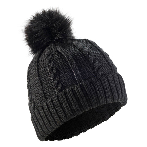 Ski Fur Cable-Knit Hat,pink