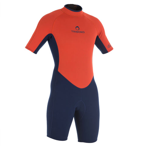 Men's Surfing Neoprene Shorty Wetsuit 100,blue