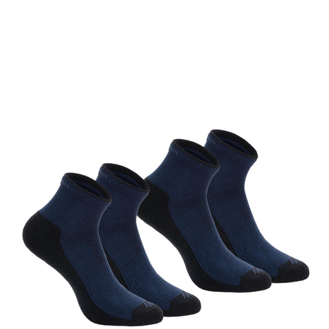 Country Walking Socks Mid x 2 Pairs NH100,midnight blue