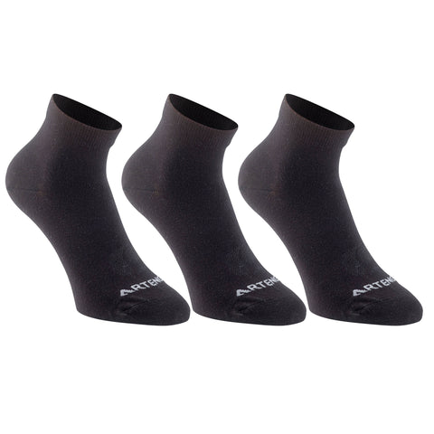Badminton Mid-Rise Socks RS 160 3-Pack,pebble gray