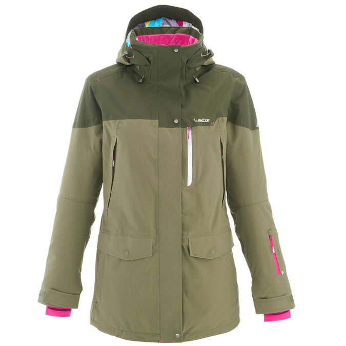 Women's Snowboard and Ski Jacket 500,dark ivy green, photo 1 of 10