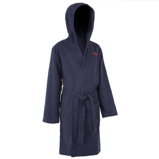 Kids' Pool Bathrobe Lightweight Cotton with Hood, Pocket and Belt,navy blue, photo 1 of 6