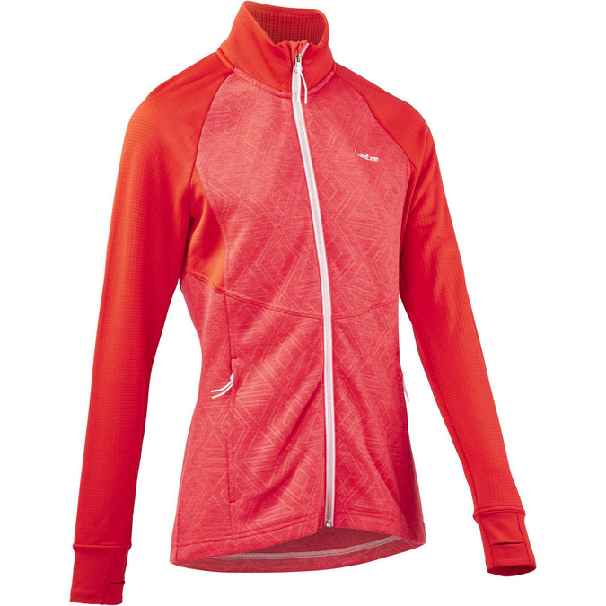 Women's Ski Full-Zip Mid-Size Warm Sweater 500,coral red, photo 1 of 7