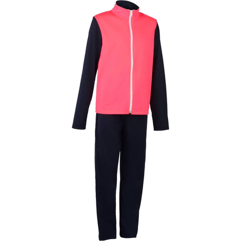 Domyos Gym'y S500, Warm Breathable Synthetic Gym Tracksuit, Girls',