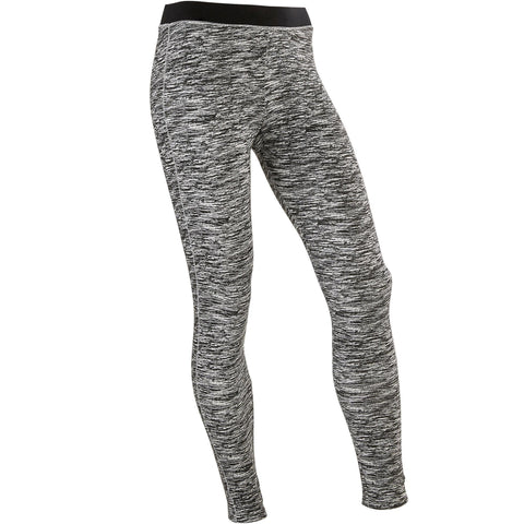 Girls' Gym Leggings Breathable Cotton 500,gray
