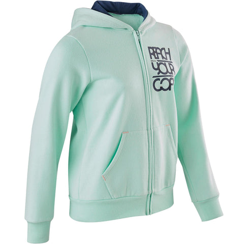 Girls' Gym Hooded Sweatshirt Warm 100,
