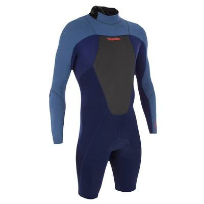 Men's Surfing Long Sleeve Shorty Wetsuit 500,blue