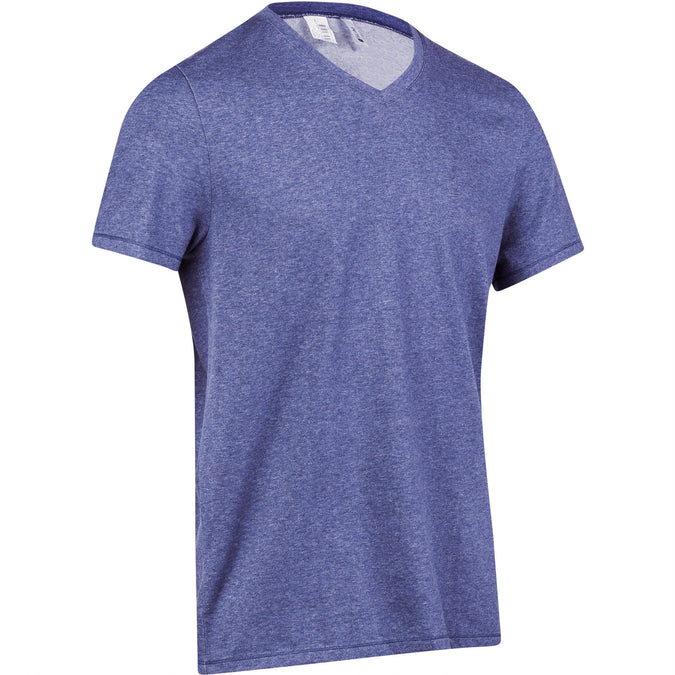 Gym and Pilates V-Neck Slim-Fit T-Shirt 500,grey blue, photo 1 of 22