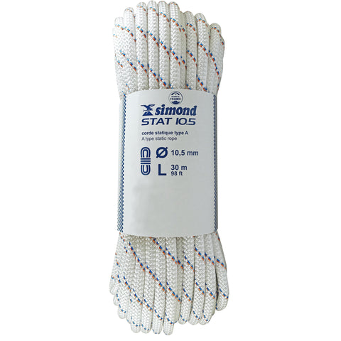 Semi-Static Rope Stat 10.5 mm x 30 m (98'),snowy white