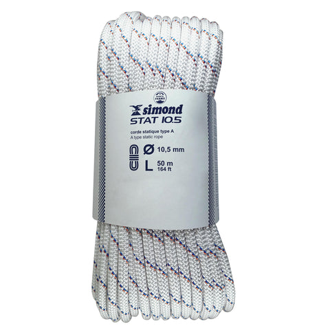 Climbing Semi Static Rope 10.5 mm 50M/164FT,snowy white