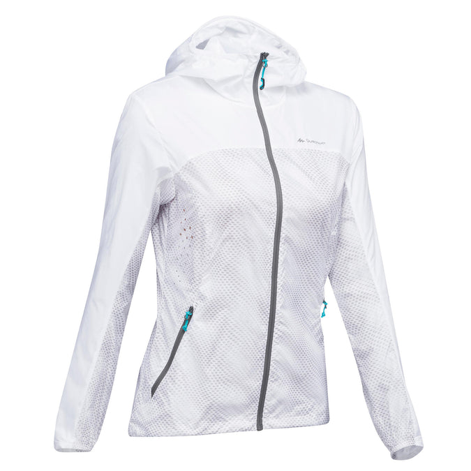 Women's Hiking Windproof Jacket Helium Wind FH500,snowy white, photo 1 of 12