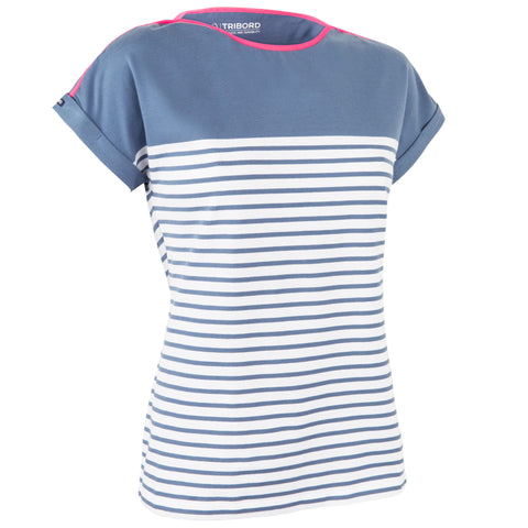Women's Sailing Short Sleeve T-Shirt Adventure 100,blue gray