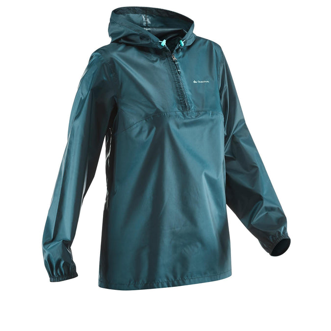 Quechua Raincut NH100, Waterproof Zip Hiking Rain Jacket, Women's,dark petrol blue, photo 1 of 9