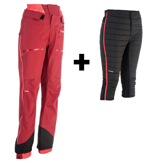 Women's Freeride Ski Pants 3-in-1 SFR 900,bordeaux, photo 1 of 13