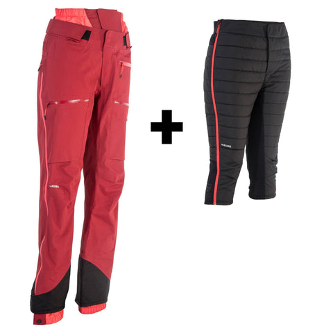 Women's Freeride Ski Pants 3-in-1 SFR 900,bordeaux
