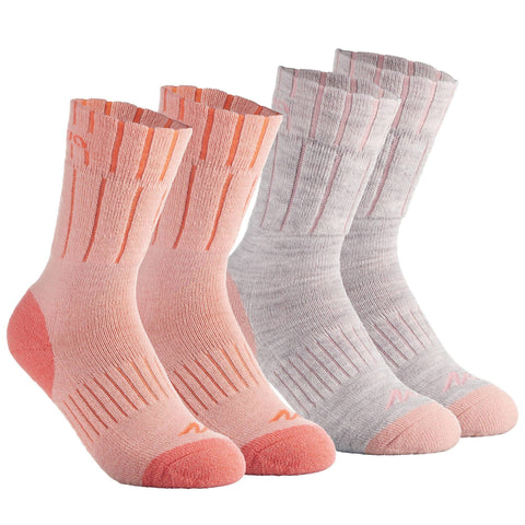 SH500 Child Warm Snow Hiking Socks - Coral,pale coral