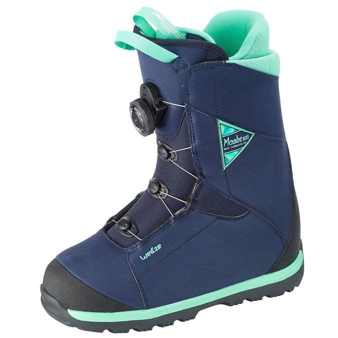 Women's All-Mountain Snowboard Cable Lock Boots Maoke 500,turquoise blue, photo 1 of 14