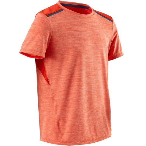 Boys' Gym T-Shirt Breathable Synthetic Short-Sleeved S500,