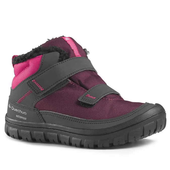 Kids' Snow Hiking Warm Rip-Tab Mid Shoes SH100,plum, photo 1 of 6