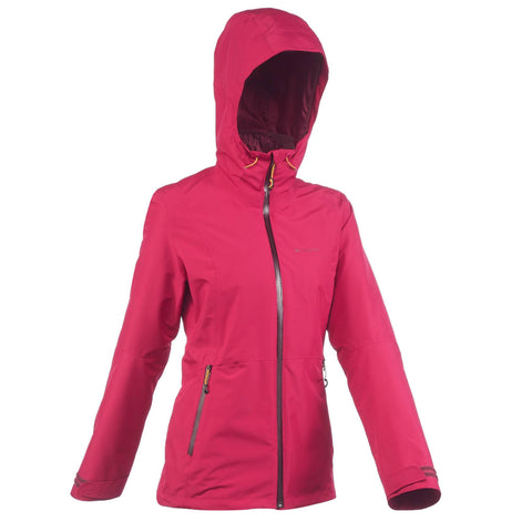 Women's Travel Backpacking 3-in-1 Jacket RainWarm 500,cardinal pink