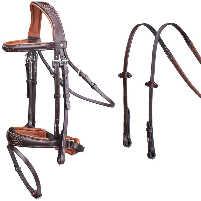 Horse Riding Pull Back Bridle and Reins,brown, photo 1 of 13