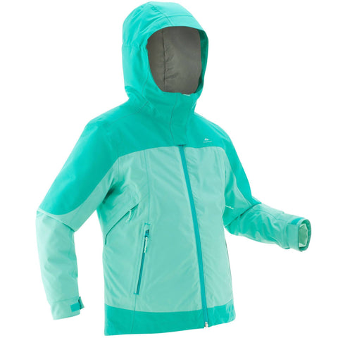 Girl's Snow Hiking Warm Jacket 3-in-1 X-Warm Age 8-14 SH500,turquoise green