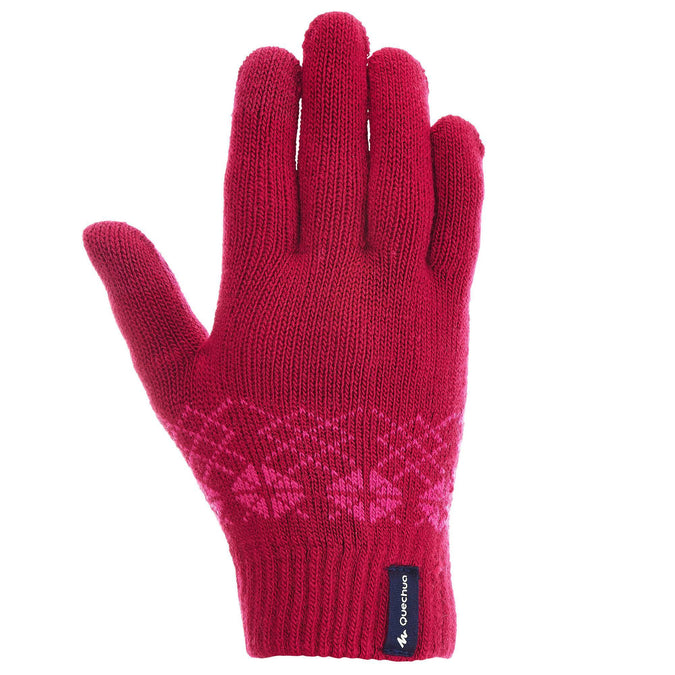Children's Knitted Hiking Gloves MH100,rosewood red, photo 1 of 7