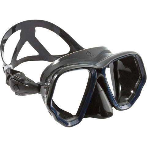 Diving mask SCD 500 double lens, black skirt, and blue strapping,bright indigo