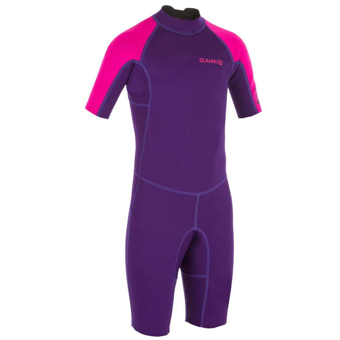 Olaian 100, 1.5 mm Neoprene Surfing Shorty Wetsuit, Kids',dark violet, photo 1 of 6