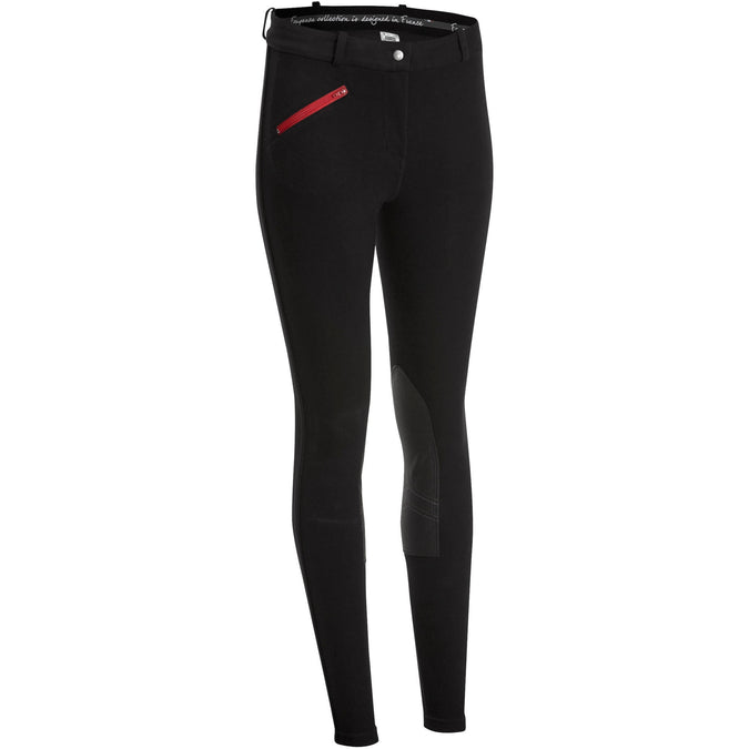 Women's Horse Riding Grippy Breeches 140,black, photo 1 of 16
