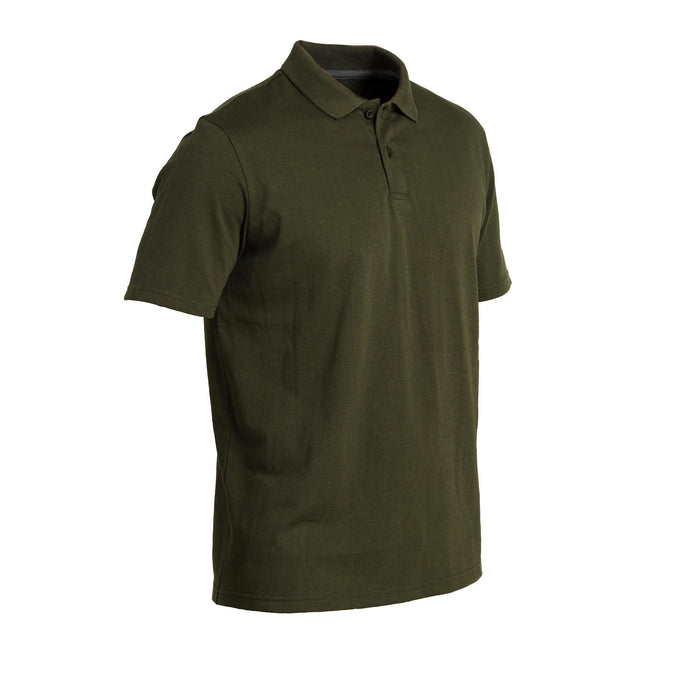 Solognac 100, Short-Sleeved Hunting Polo Shirt, Men's,dark khaki, photo 1 of 8
