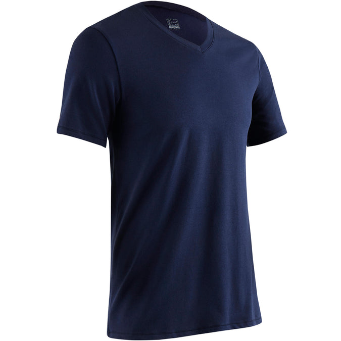 Pilates and Gentle Gym Slim-Fit V-Neck T-Shirt 500,navy blue, photo 1 of 10