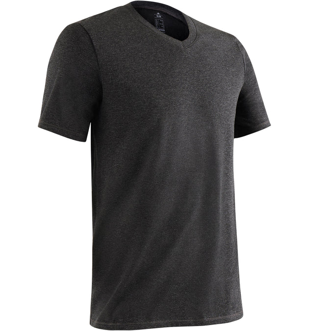 Gym and Pilates V-Neck Slim-Fit T-Shirt 500,dark grey, photo 1 of 10