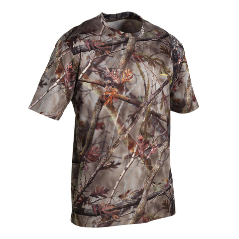 Hunting T-Shirt Breathable Short-Sleeved Actikam 100,camouflage