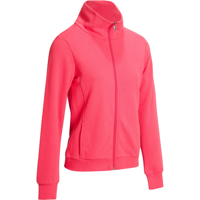 Women's Pilates and Gentle Gym High-Neck Hoodie 500,pink, photo 1 of 12